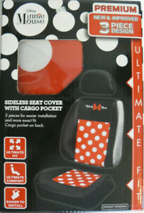Minnie Mouse 3 Piece Sideless Seat Cover With Cargo Pocket Ultimate Fit Nib