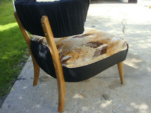Vtg Chair Mid Century Modern Arm Slipper Club Danish Armless Lounge Old School