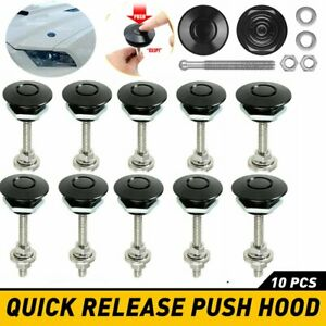 2 10x Push Button Quick Release Hood Bonnet Pins Lock Clip Car Bumper Latch Kit