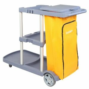 Commercial Cleaning Janitorial 3 shelf Cart 550 Lbs Capacity Housekeeping Cart