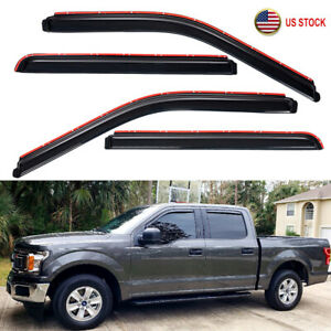 In channel Smoke Window Vent Visors Rain Guards For 2015 2021 Ford F150 Crew Cab