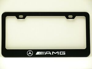 Mercedes Benz Amg Aluminum Black Finished License Plate Frame X 2 New Free Shipg