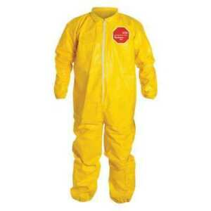Dupont Qc125sylxl001200 Collared Chemical Resistant Coveralls Xl Yellow