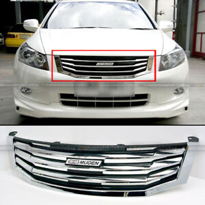 Fit 08 10 Accord 4dr Sedan Jdm Mugen Style Chrome Horizontal Front Hood Grille