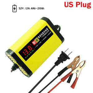 12v 2a Car Motorcycle Battery Charger Lcd Full Automatic 3 Stages Lead Acid Agm