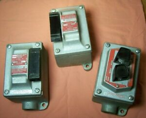 3 Crouse hinds Explosion Proof Boxs 1 w Push Switch Eds 2190 2 Lever Eds 2194