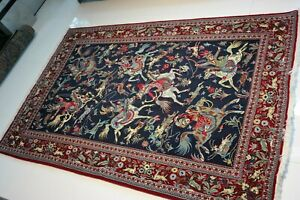 Persian Art Exhibition Fine Antique Ghome Wool Hunting Rug 80 X 53 Inch