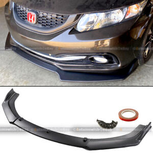 Fit 13 15 Civic 4dr Sedan Jdm Cs Style 3 Pcs Matte Front Bumper Lip Kit Spoiler