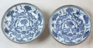 Pair Antique Chinese Blue White Porcelain On Pewter 4 Dish Bowl