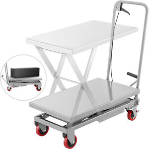 Hydraulic Scissor Cart Lift Table Cart 500lbs Manual Scissor Lift Table In Grey