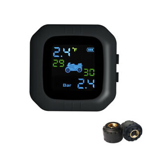 Wireless Tpms Motorcycle Tire Pressure Monitoring System W 2 Sensors Moto Tool