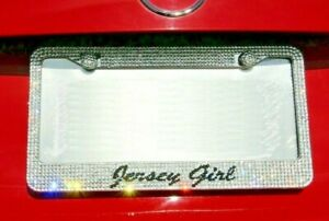 Shine Crystal Jersey Girl Metal Bling License Plate Frame Us Seller