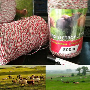 Be_ 500m Electric Portable Fencing Poly Wire Rope Garden Farm Animal Enclosure T