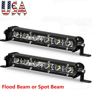 7inch Slim Led Light Bar Single Row Spot Flood Work Offroad Driving Atv 4wd Suv