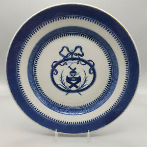 18th Century Chinese Export Blue White Armorial Plate Bruce