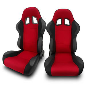 2 X Universal Red Pineapple Cloth pvc Leather Left right Racing Bucket Seats