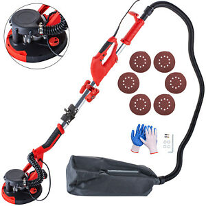 Drywall Sander 750w Wall Grinding Foldable 5 Speed W Led Light And Vacuum Bag