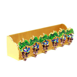 Purple Grape Business Card Holder Organizer Stand Desktop Tabletop Crystals Gold