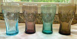 Vintage Coca-Cola  Full Set of 4 Colored Glasses - Promos for McDonalds 16 oz.