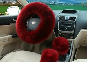 Burgundy Australia Wool Fuzzy Auto Car Steering Wheel Cover Universal Us Stock
