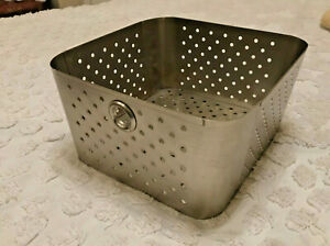 Square Perforated Stainless Steel Pan Basket 9 1 2 Wide
