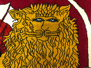 3x5 Wool Vintage Rug Hand Knotted Handmade Handwoven Antique Red Gold Lion 3x6