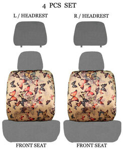 Car Truck 4 Piece Set Sublimation Design Low Back Front Seat Covers 2005 Gray