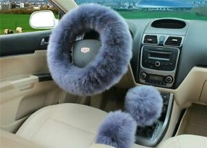 Blue Gray Australia Wool Fuzzy Autocar Steering Wheel Cover Universal For Winter