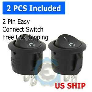2 Pack 6a 250v 10a 125v Spst On off 2 Position Mini Round Rocker Switch 12v