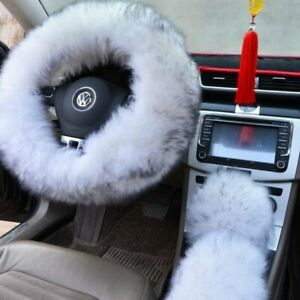 Fuzzy Auto Car Steering Wheel Cover Universal Winter White With Tip Australia