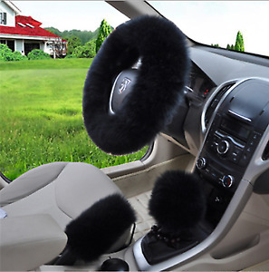 3pc Black Australia Wool Fuzzy Autocar Steering Wheel Cover Universal Us Stock