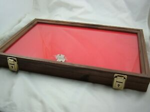 Display Box Walnut Wood Showcase Display Case Secure Foam Lining 12 X 18 X 2 In