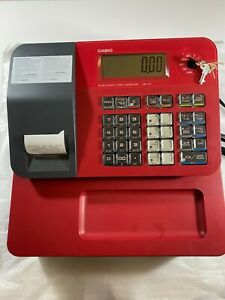 Casio Se g1sc Electronic Cash Register Red With Rear Display Key Works Great