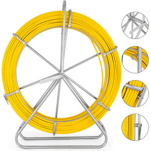 656ft 200m Fiberglass Fish Tape Reel 6mm Wire Cable Conduit Puller Duct Rodder
