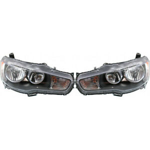 Fits 2008 2009 Mitsubishi Lancer Driver And Passenger Side Headlight Assembly