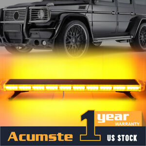 Amber 88 Led 47 28 Modes Car Roof Top Emergency Strobe Light Bar Plow Tow Truck