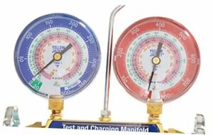 Yellow Jacket 42001 Manifold With 3 1 8 Color coded Gauges Psi R 22 404a 410a