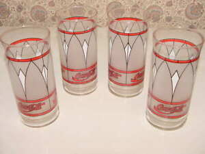 4 - Libbey Coca-Cola Glasses Frost Tiffany Style Window Pane Stained Vintage Exc
