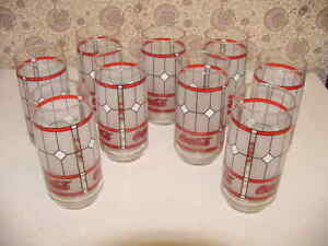 9 - Libbey Coca-Cola Glasses Frost Tiffany Style Window Pane Stained Vintage Exc