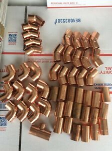 50 copper Solder Fittings 90 45 Couplings Lot Of Nibco Solder 3 4 Id 7 8 Od