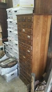 Original Antique Oak Library Card Catalog 48 Drawers Apothecary