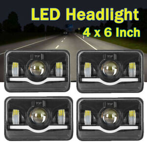 4pcs 4x6 Led Headlight Sealed Hi lo Beam Fog Light For Freightliner Fld120 112