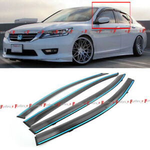 Fit 13 17 Honda Accord 4 Door Jdm Mugen Style 3d Wavy Chrome Trim Window Visor