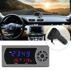 Auto Car Vehicle Led 3 In 1 Digital Thermometer Temp Car Clock Time Voltmeter