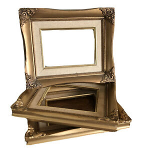 Vintage Antique Gold Wooden Gesso Ornate Picture Frame Lot 3 Linen Mat Victorian