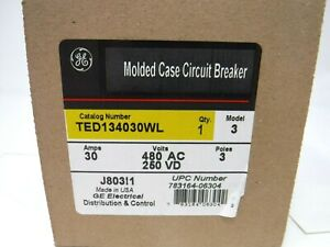Ge Ted134030wl Circuit Breaker 3 Pole 30a 480v new In Box