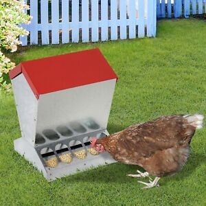 Auto Chicken Feeder Galvanized Steel Poultry Feeders For 10 Chickens 25lbs