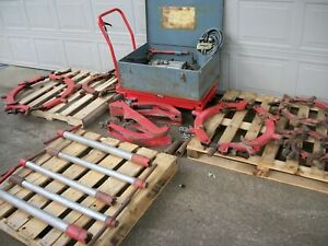 Large Set Up Reed Hinged Rotary Pipe Cutter 8 12 16 20 24 Heads W Power Unit