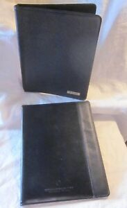 Retro 1990 s Black Leather Day Timer Binder Canada Notebook Pad Holder Lot 2