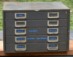 Vintage Cole Steel Industrial 5 Drawer Storage Parts Tools Cabinet Made In Usa